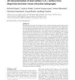 pdf 2d characterization of near surface vp vs surface wave dispersion inversion versus refraction tomography [ 850 x 1133 Pixel ]