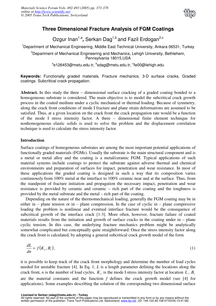 medium resolution of  pdf three dimensional fracture analysis of fgm coatings
