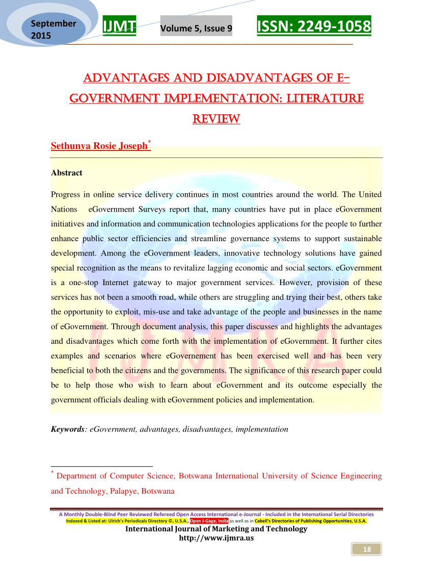 PDF Advantages And Disadvantages Of E Government Implementation