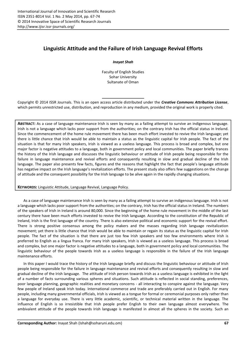 PDF Linguistic Attitude And The Failure Of Irish Language Revival