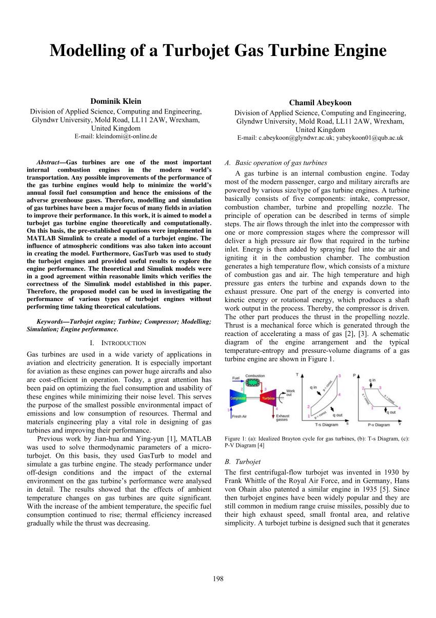 hight resolution of  pdf modelling of a turbojet gas turbine engine
