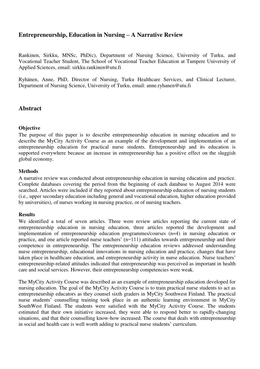 PDF Entrepreneurship Education In Nursing A Narrative