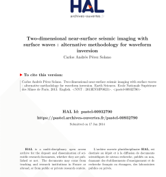 pdf 2d characterization of near surface vp vs surface wave dispersion inversion versus refraction tomography [ 850 x 1202 Pixel ]