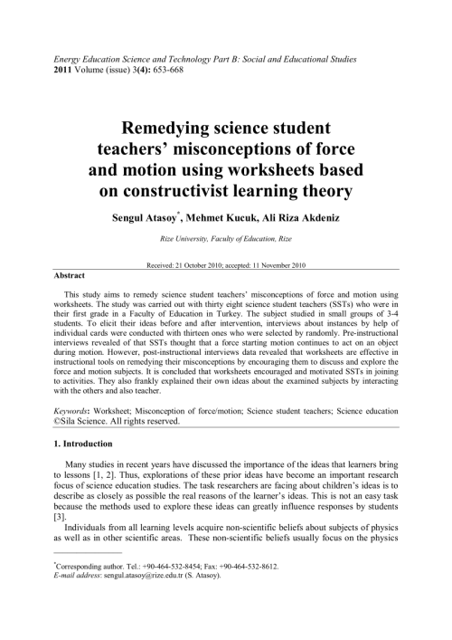 small resolution of PDF) Remedying science student teachers' misconceptions of force and motion  using worksheets based on constructivist learning theory