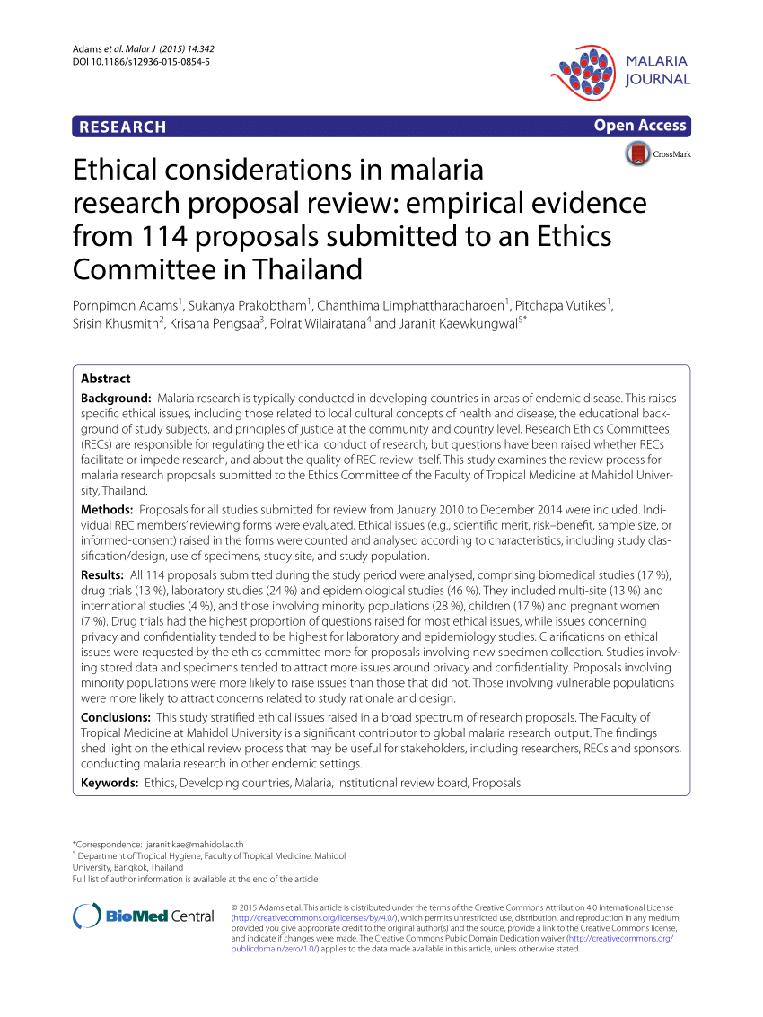 Ethical Considerations In Malaria PDF Download Available