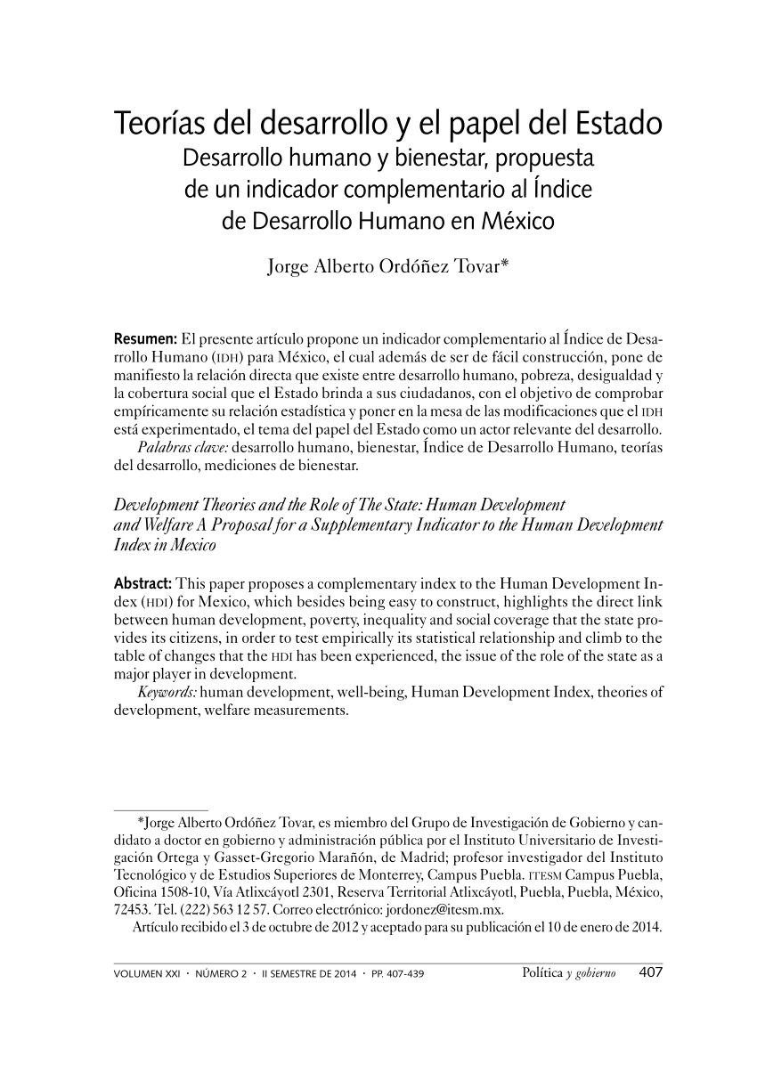 PDF Teoras del desarrollo y el papel del Estado