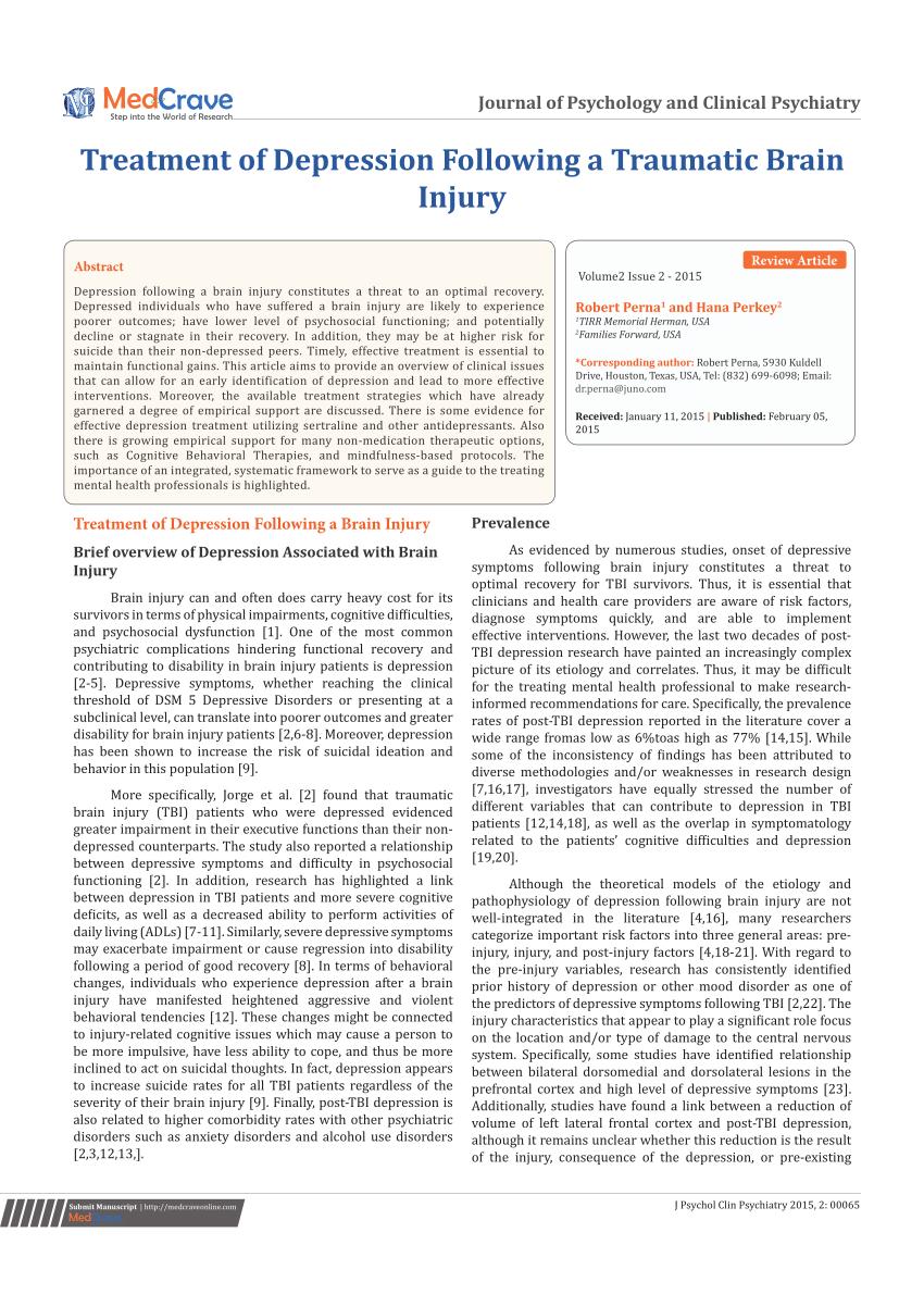 (PDF) Treatment of Depression following Trauma Brain Injury.