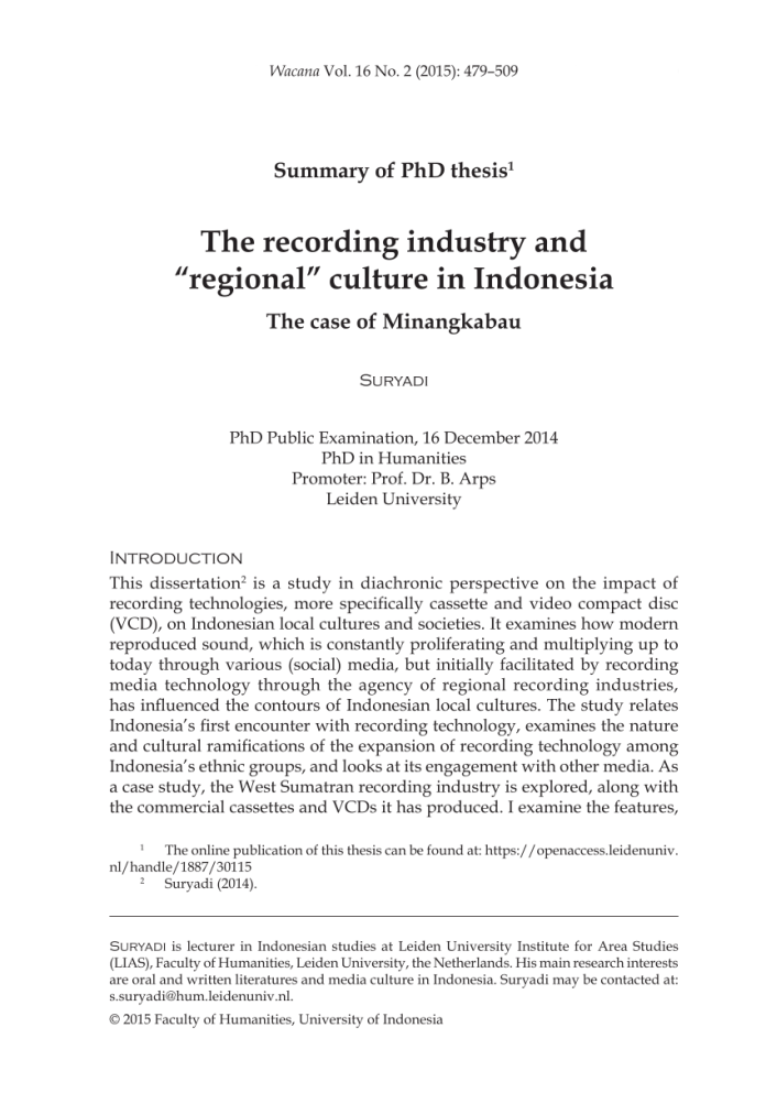 Pdf The Recording Industry And Regional Culture In Indonesia The Case Of Minangkabau