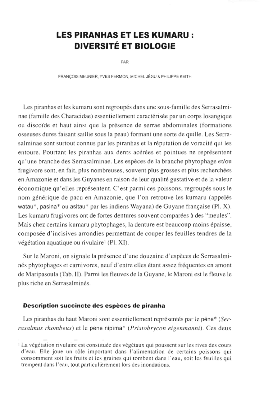 pdf revision of vernacular names for the freshwater fish of french guiana