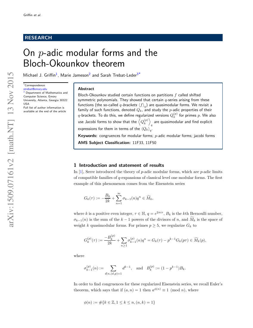 Serre P-adic Modular Forms Pdf On P Adic Modular Forms And The Bloch Okounkov Theorem