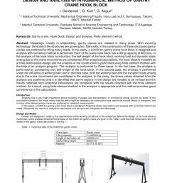 pdf design and analysis with numerical method of gantry crane hook block [ 850 x 1203 Pixel ]