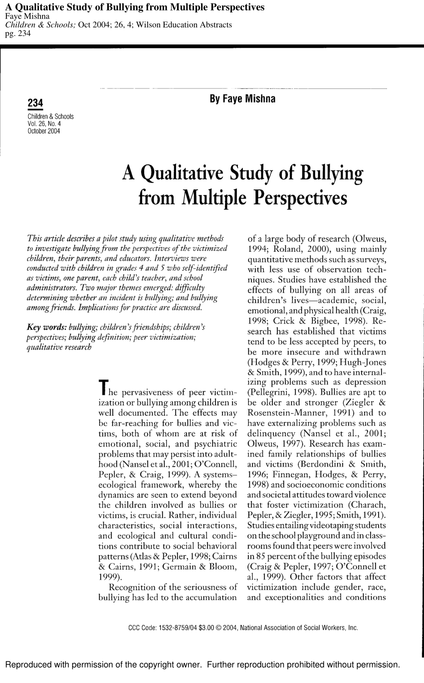 PDF A Qualitative Study Of Bullying From Multiple