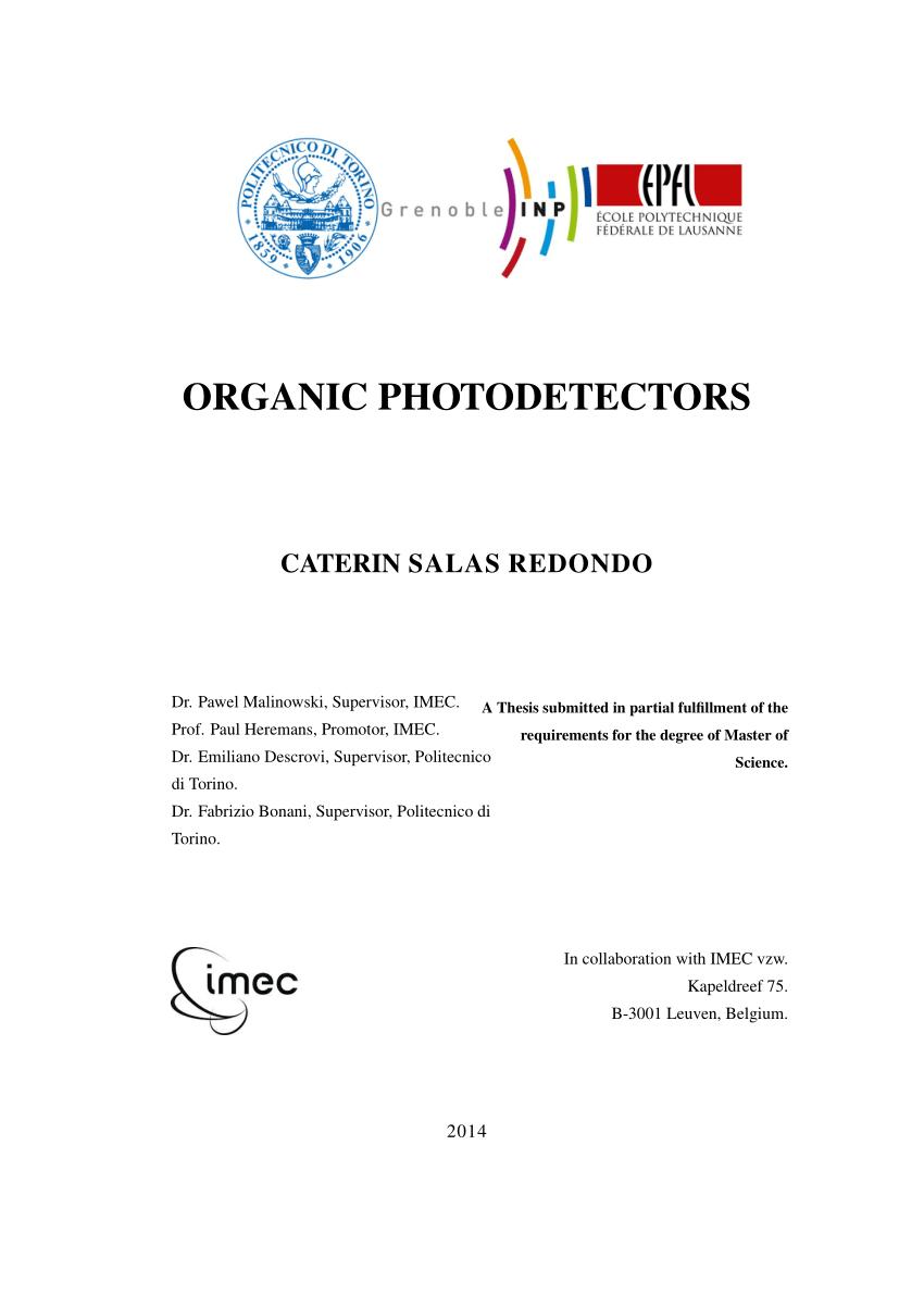 hight resolution of  pdf organic photodetectors