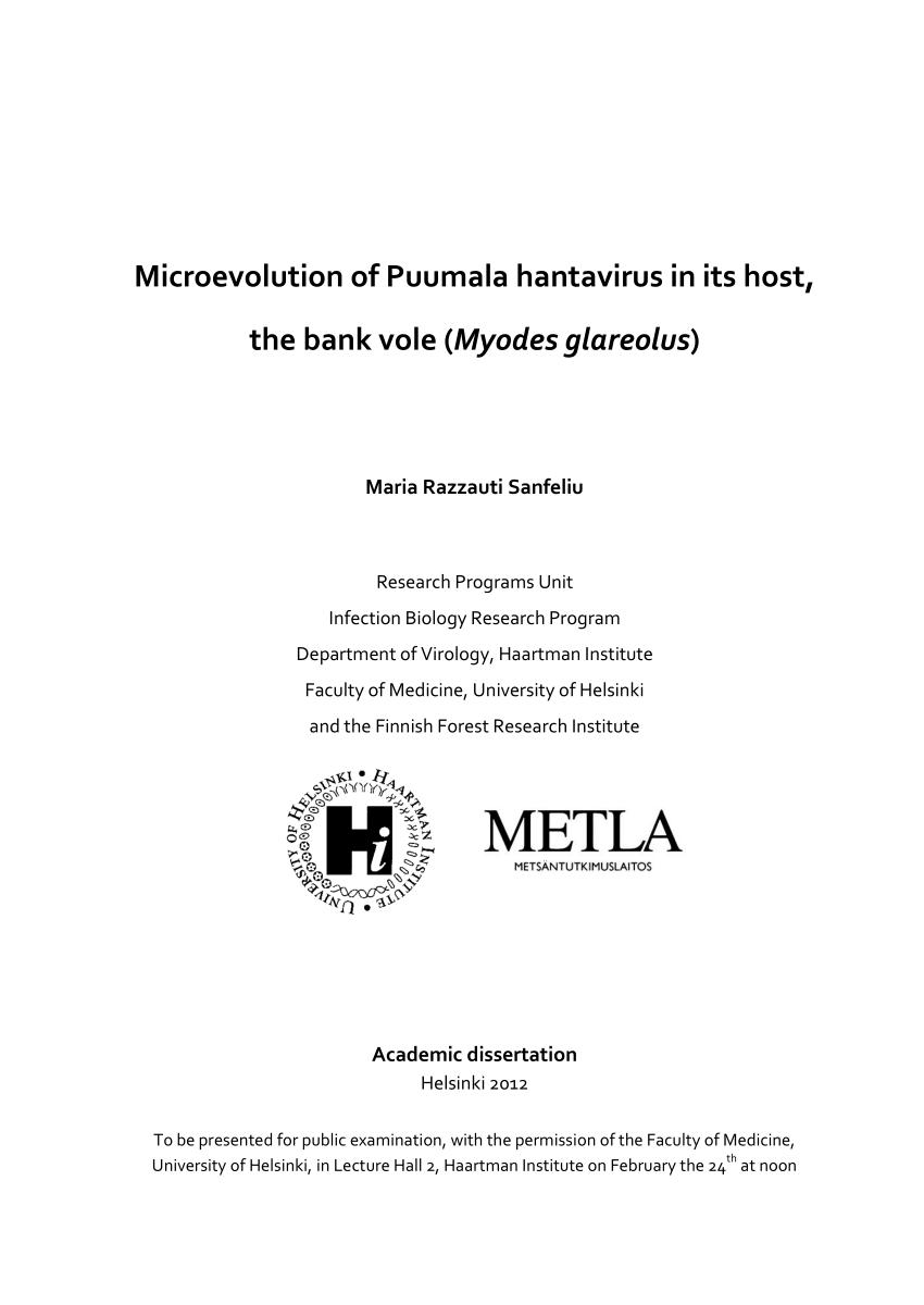 PDF) Microevolution of Puumala hantavirus in its host, the bank ...