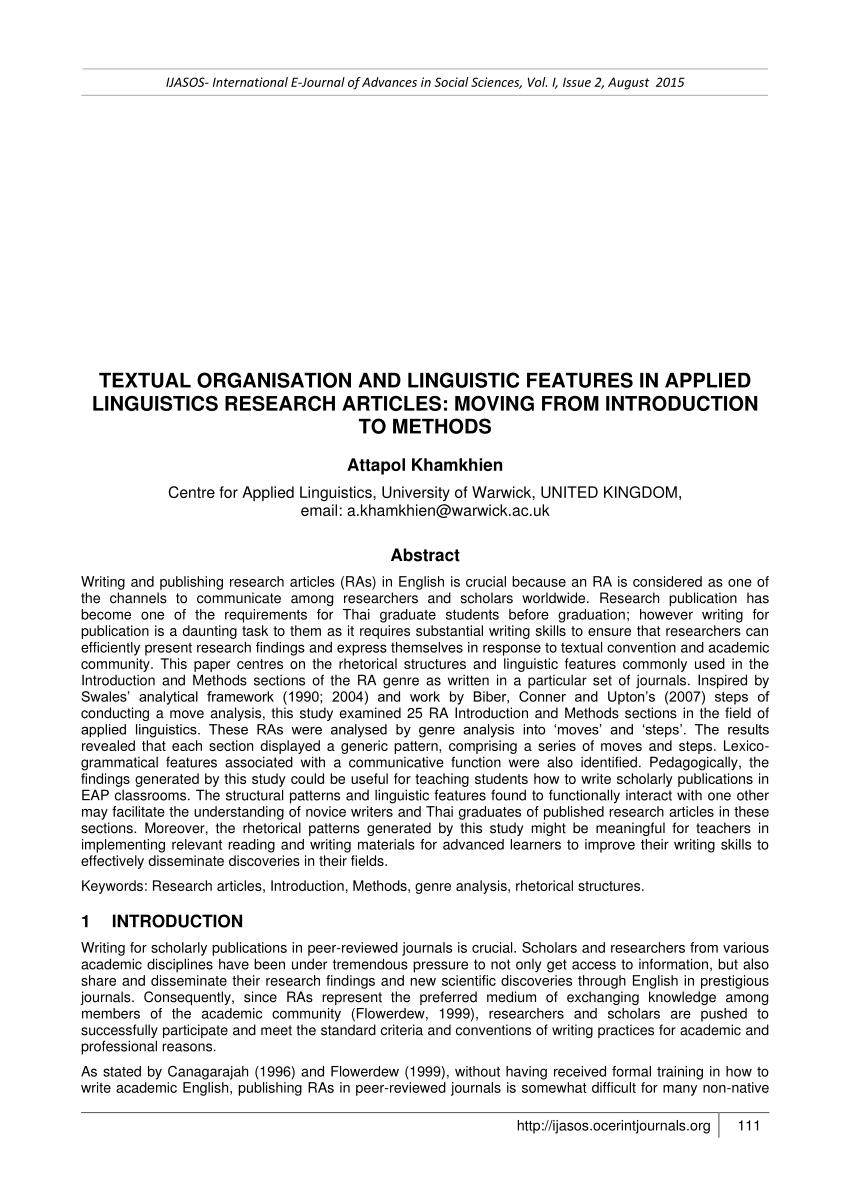 PDF TEXTUAL ORGANISATION AND LINGUISTIC FEATURES IN APPLIED