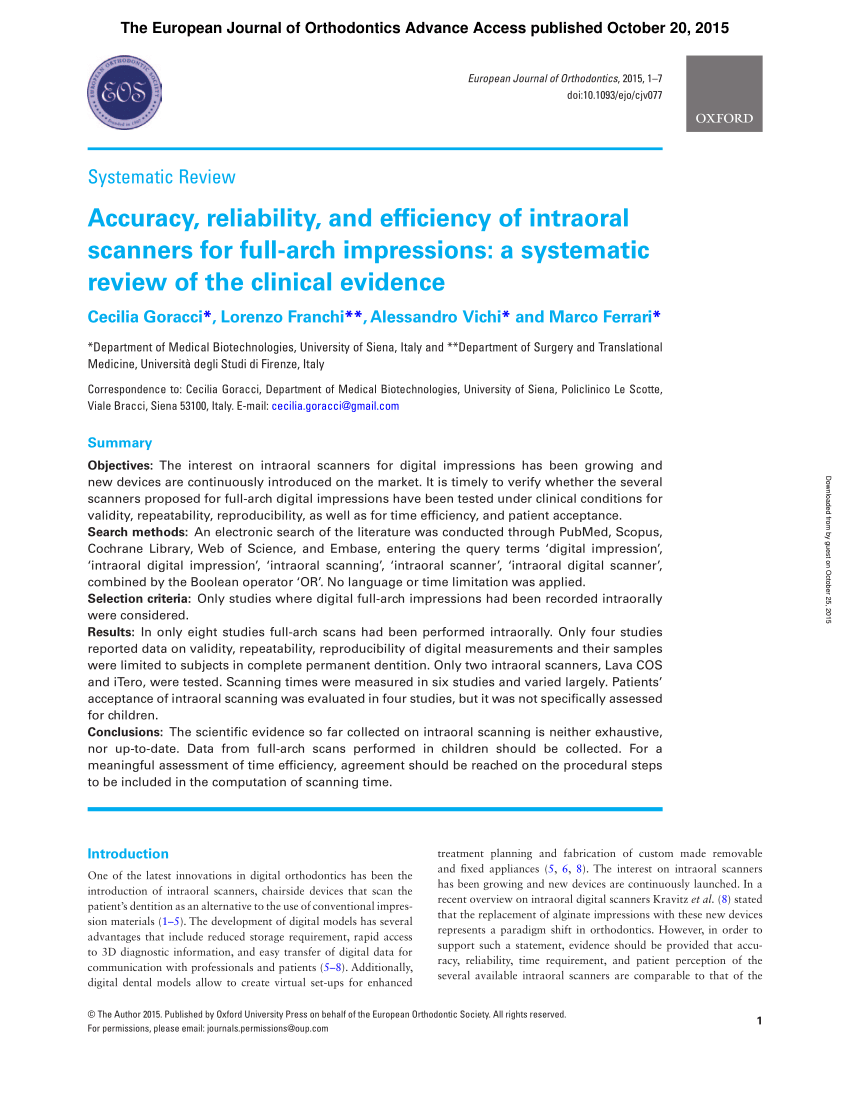 pdf accuracy reliability and efficiency of intraoral scanners for full arch impressions a systematic review of the clinical evidence