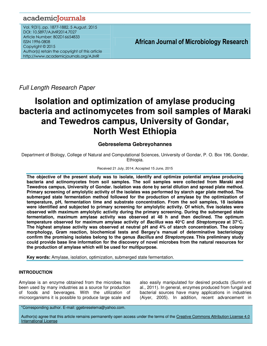 PDF Isolation And Optimization Of Amylase Producing Bacteria And