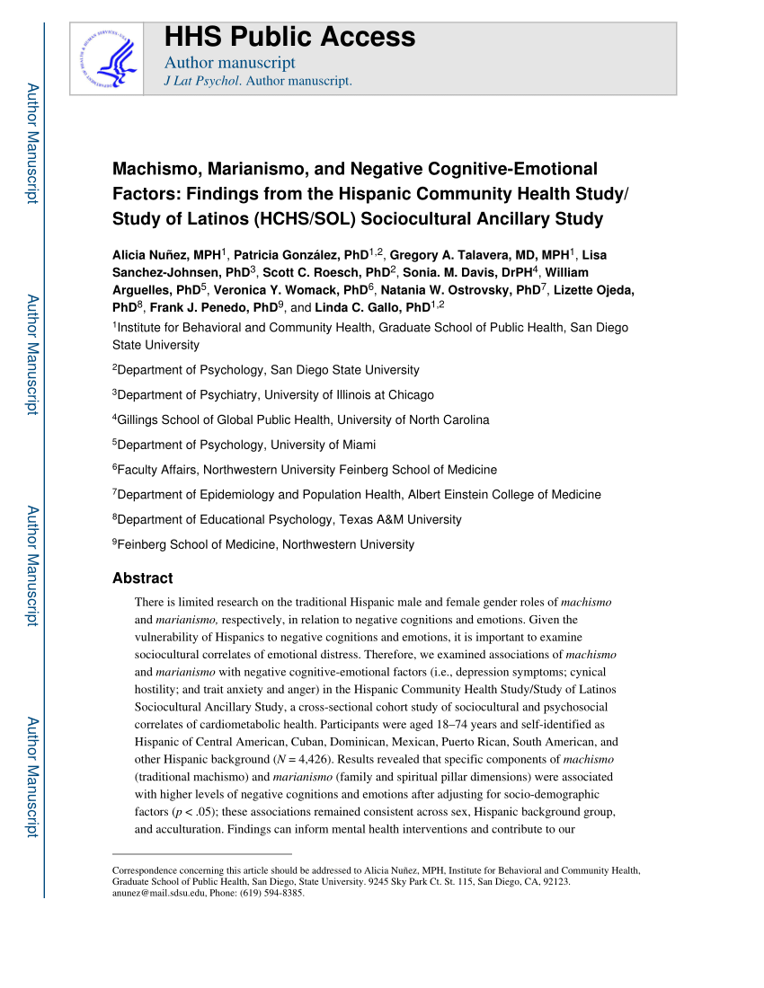 PDF Machismo Marianismo And Negative Cognitive Emotional Factors