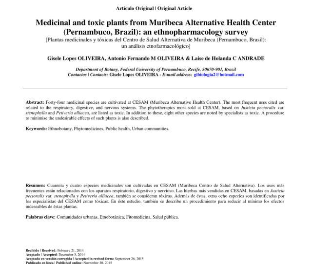 Pdf Medicinal And Toxic Plants From Muribeca Alternative Health Center Pernambuco Brazil An Ethnopharmacology Survey Plantas Medicinales Y Toxicas