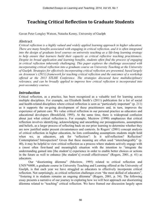 PDF) Teaching Critical Reflection to Graduate Students