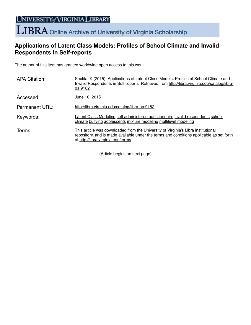 PDF Applications of Latent Class Models Profiles of School Climate and Invalid Respondents in