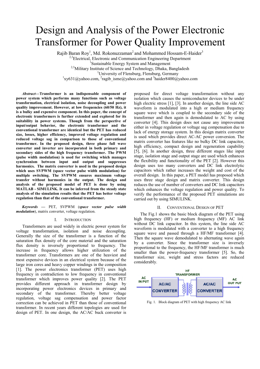 hight resolution of  pdf design and analysis of the power electronic transformer for power quality improvement