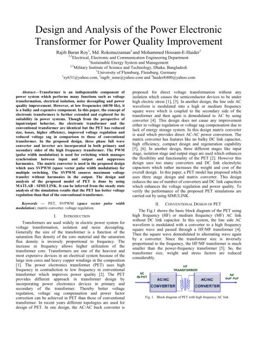 small resolution of  pdf design and analysis of the power electronic transformer for power quality improvement