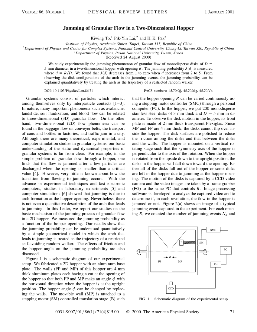medium resolution of  pdf jamming of granular flow in a two dimensional hopper