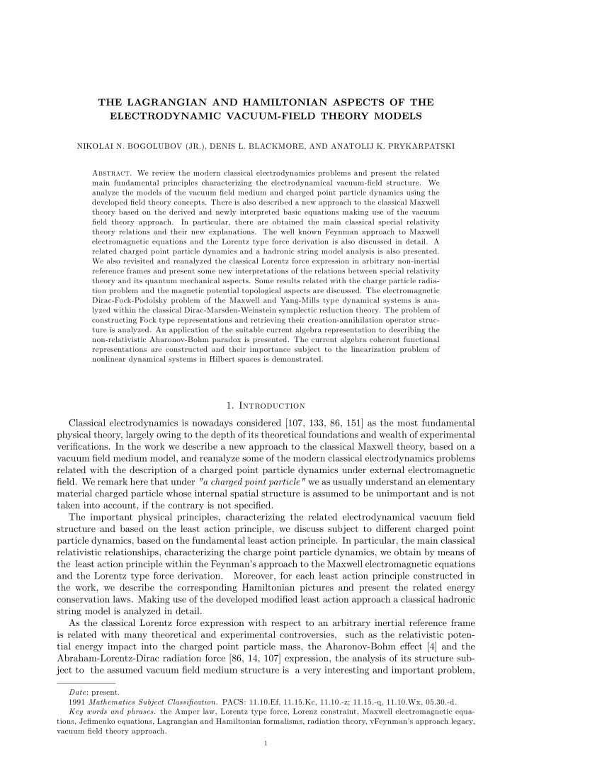 (PDF) THE LAGRANGIAN AND HAMILTONIAN ASPECTS OF THE ELECTRODYNAMIC VACUUM-FIELD THEORY MODELS