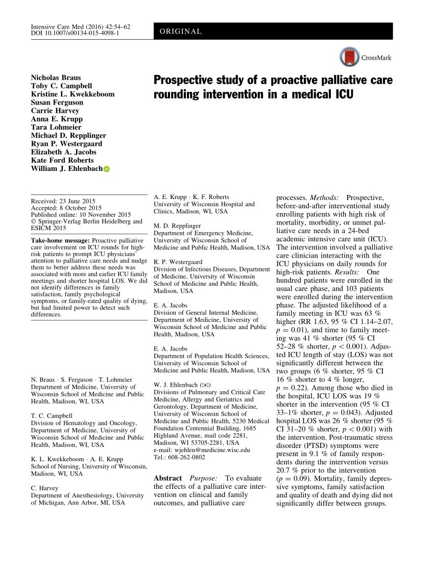 (PDF) Prospective Study of a Proactive Palliative Care