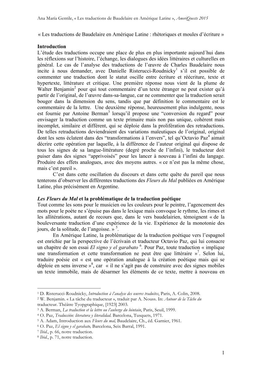 Brumes Et Pluies Baudelaire Analyse : brumes, pluies, baudelaire, analyse, Traductions, Baudelaire, Amérique, Latine, Rhétoriques, Moules, D'écriture