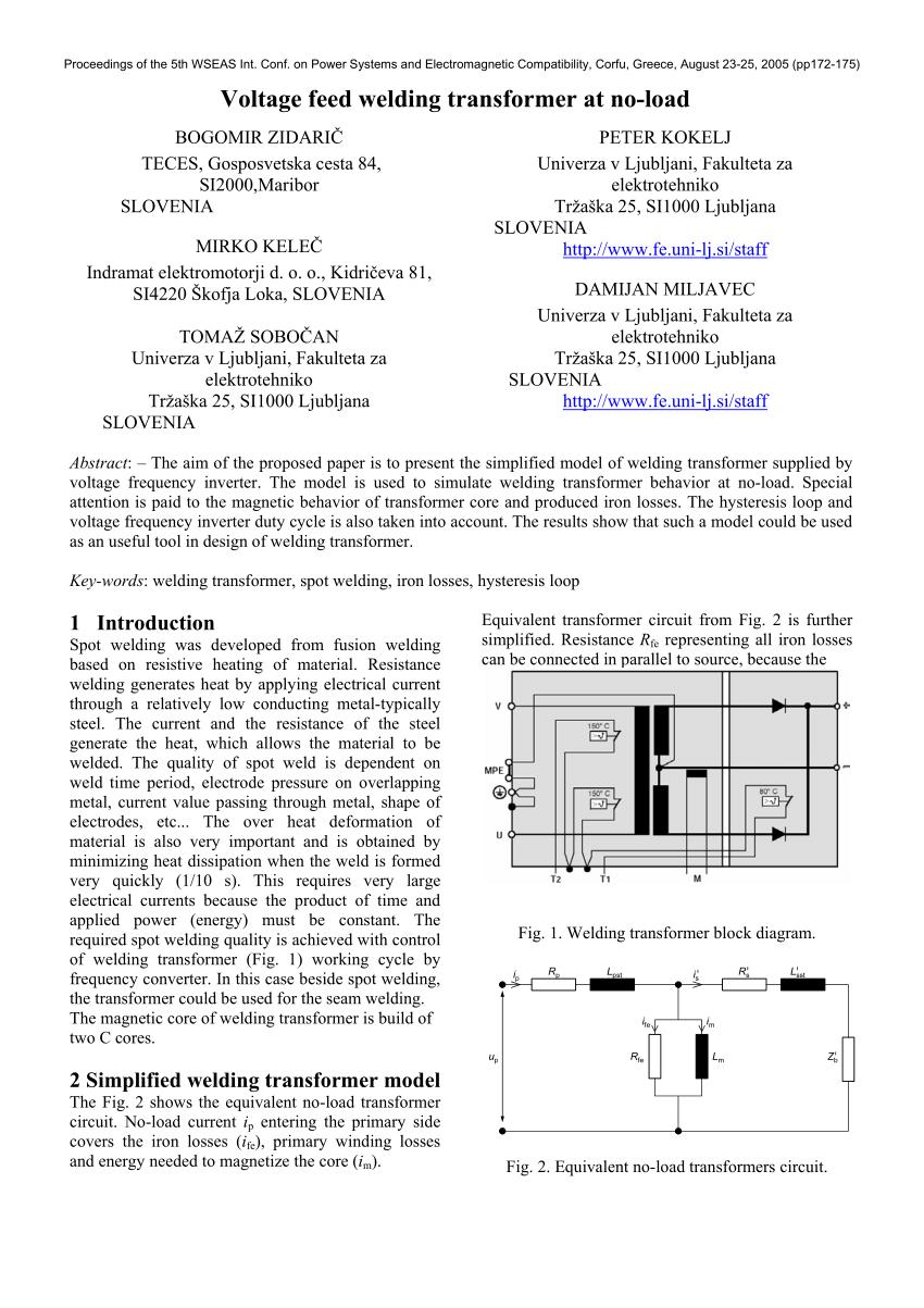 medium resolution of  pdf voltage feed welding transformer at no load