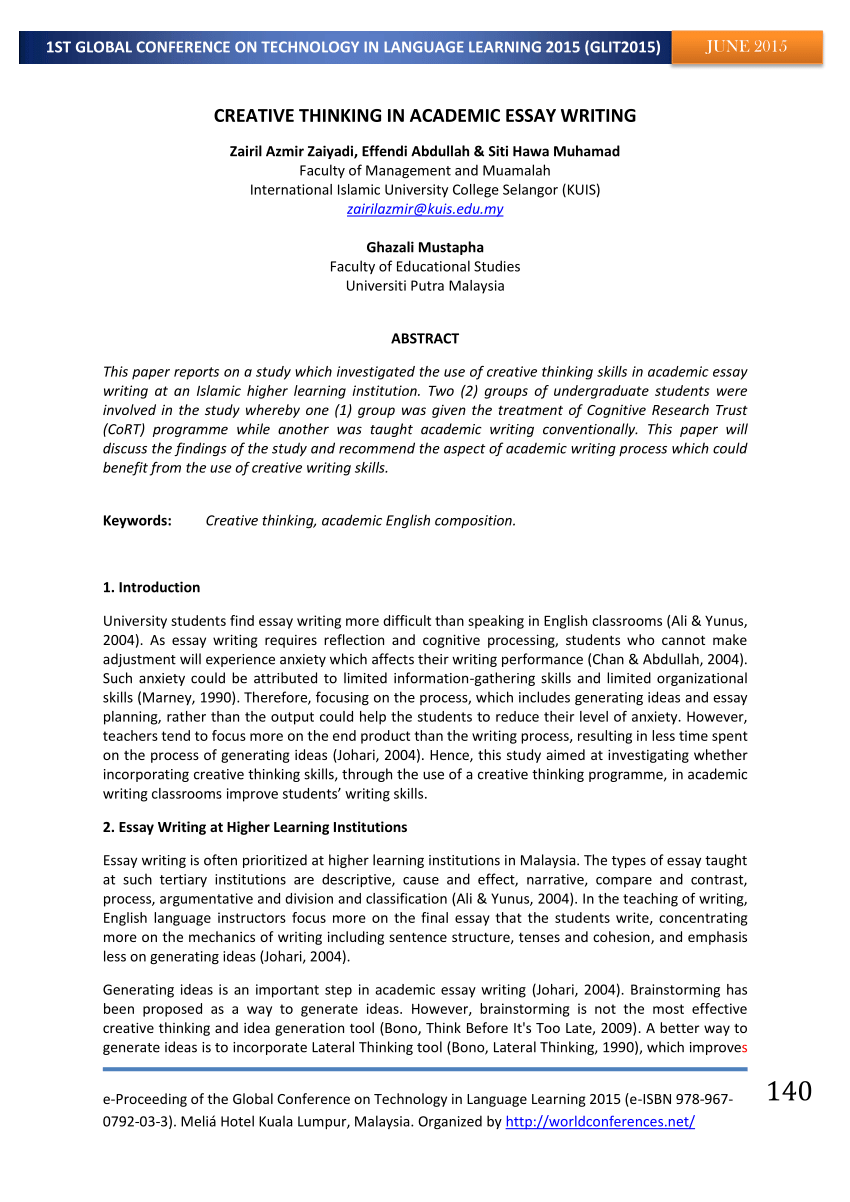 PDF CREATIVE THINKING IN ACADEMIC ESSAY WRITING