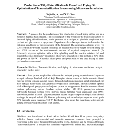 pdf biodiesel production via transesterification of waste oil parameters study and process development [ 850 x 1100 Pixel ]
