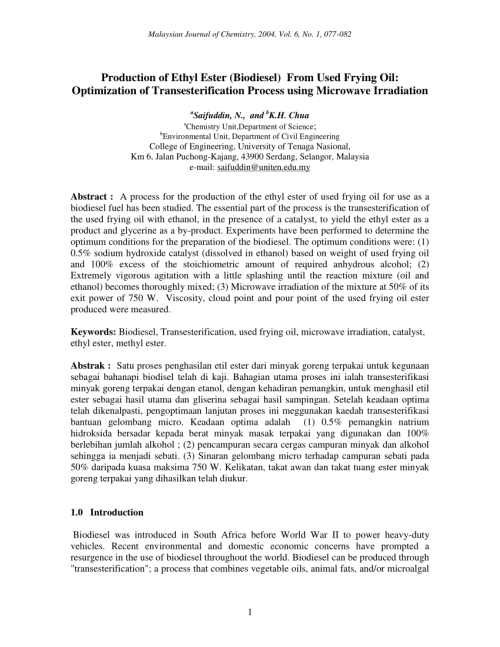 small resolution of  pdf biodiesel production via transesterification of waste oil parameters study and process development