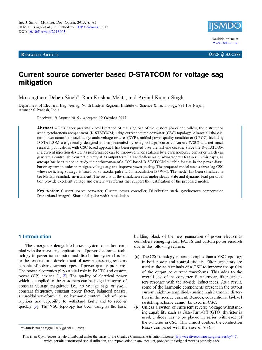 medium resolution of  pdf current source converter based d statcom for voltage sag mitigation