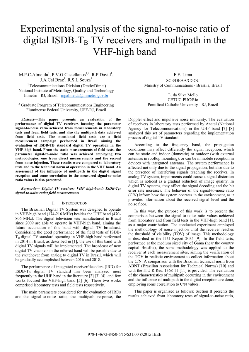 hight resolution of  pdf experimental analysis of the signal to noise ratio of digital isdb tb tv receivers and multipath in the vhf high band