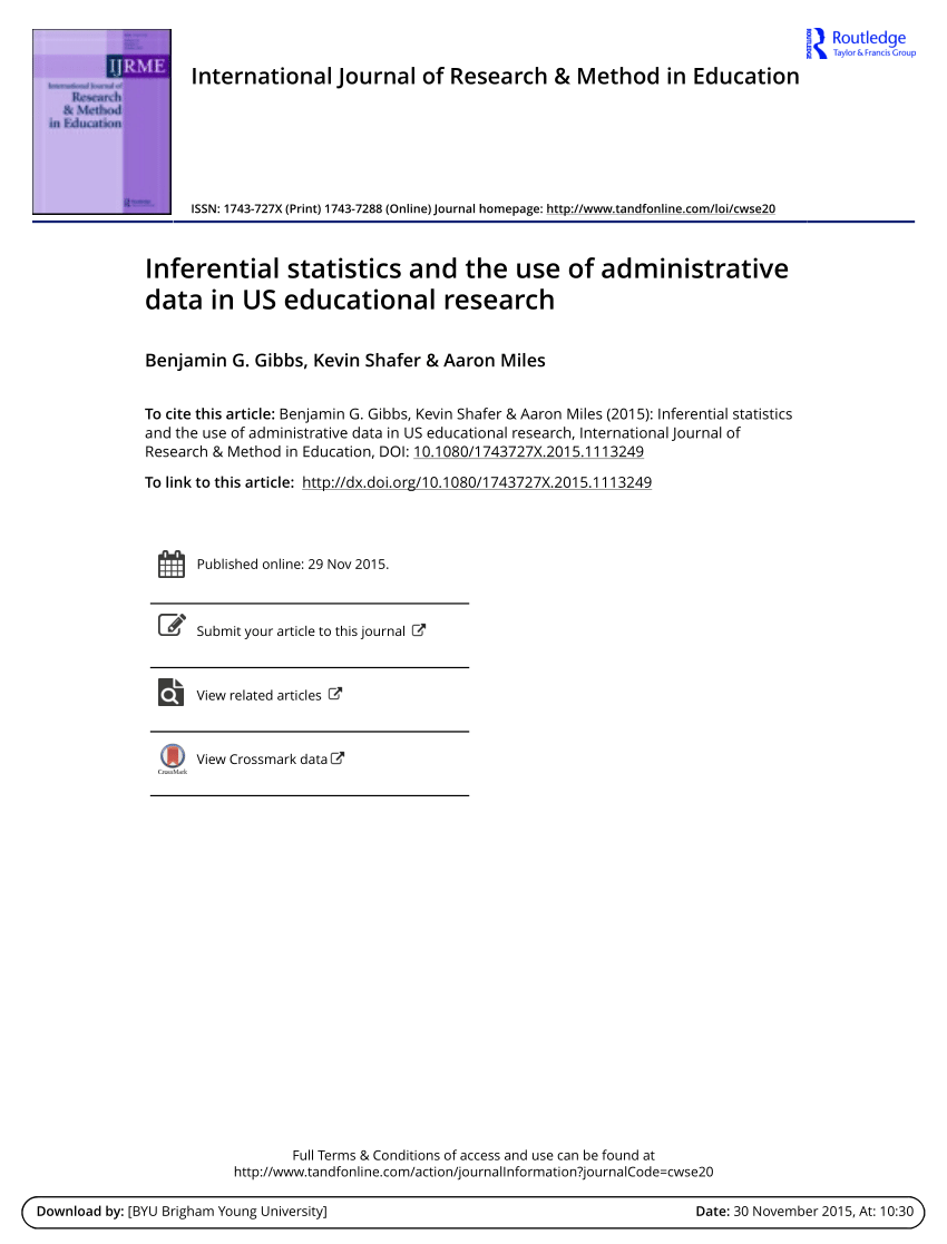 PDF Inferential Statistics And The Use Of Administrative Data In