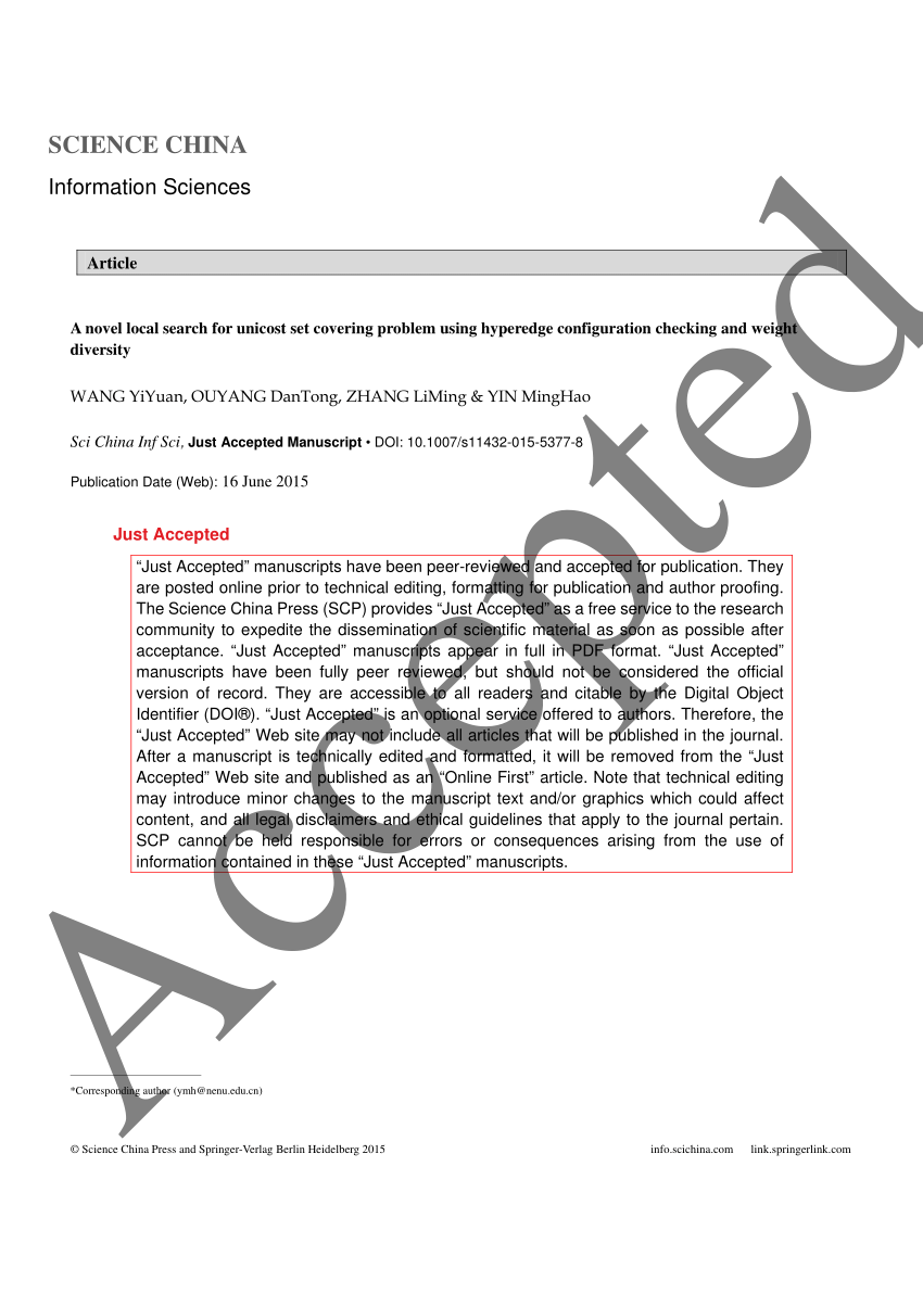 (PDF) A novel local search for unicost set covering