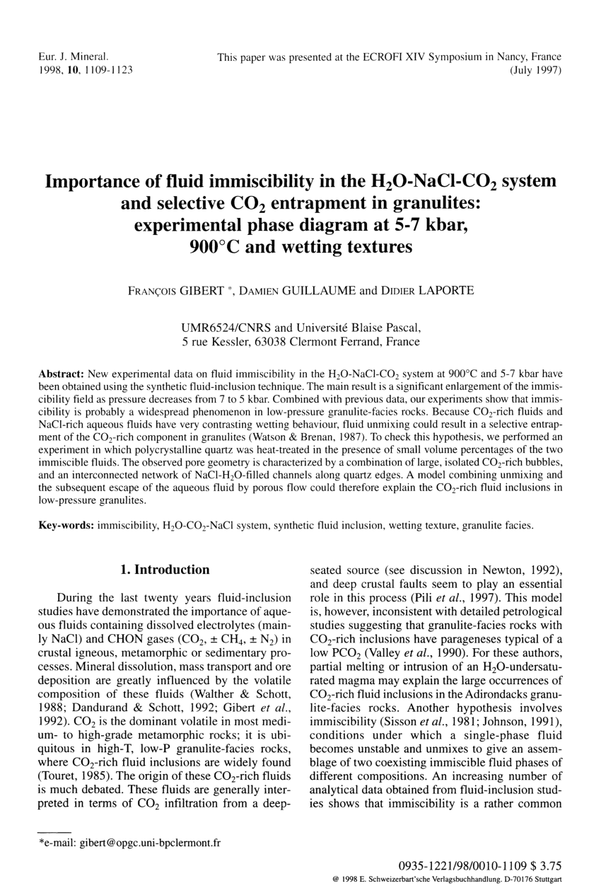hight resolution of phase equilibria in ternary systems formed by h2o and co2 with cacl2 or nacl at high t and p request pdf