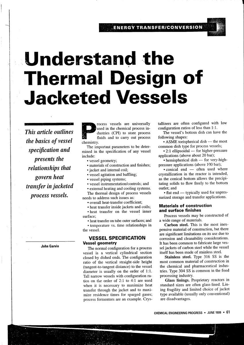 (PDF) Understand the thermal design of jacketed vessels