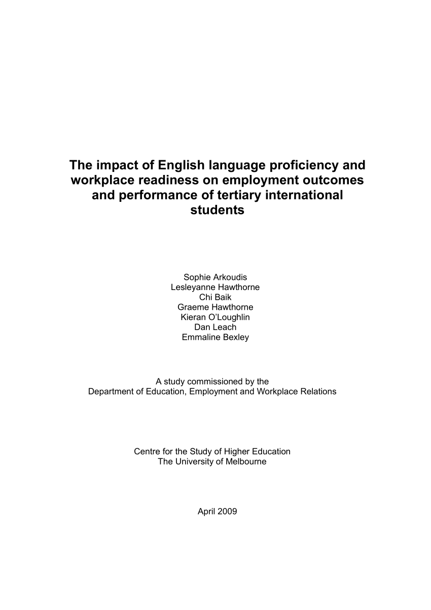medium resolution of  pdf the impact of english language proficiency and workplace readiness on the employment outcomes of tertiary international students