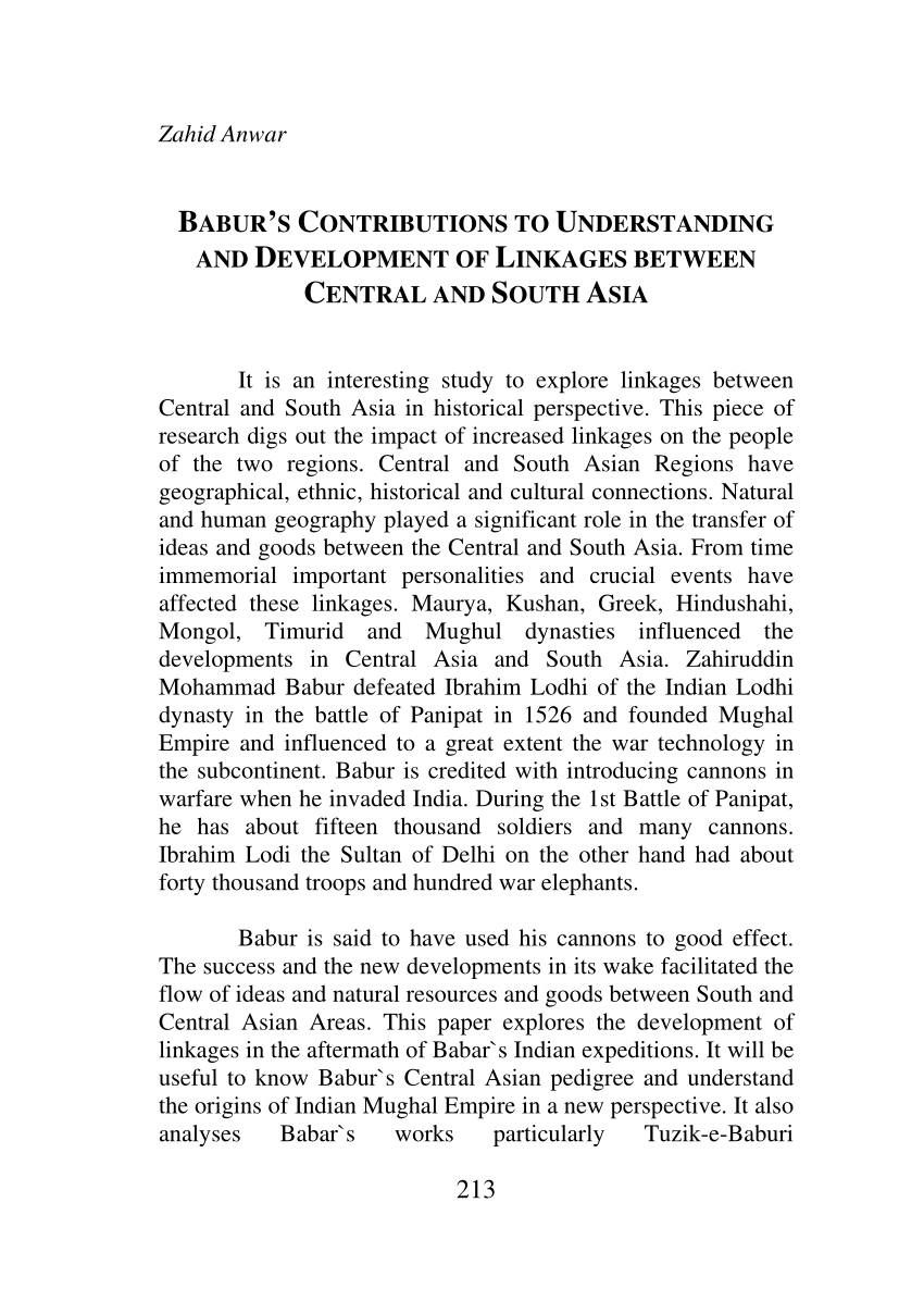 PDF BABUR'S CONTRIBUTIONS TO UNDERSTANDING AND DEVELOPMENT OF