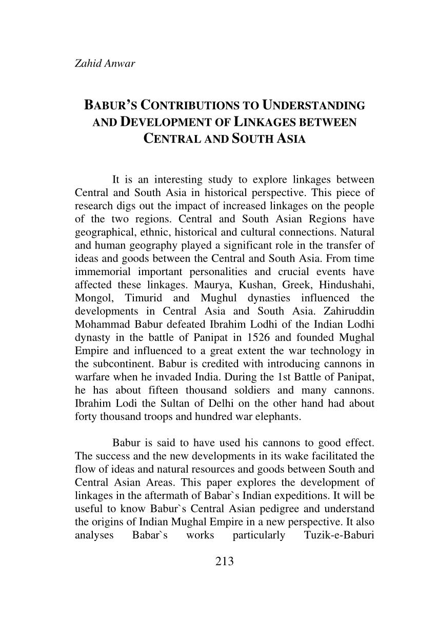 PDF BABUR'S CONTRIBUTIONS TO UNDERSTANDING AND DEVELOPMENT OF