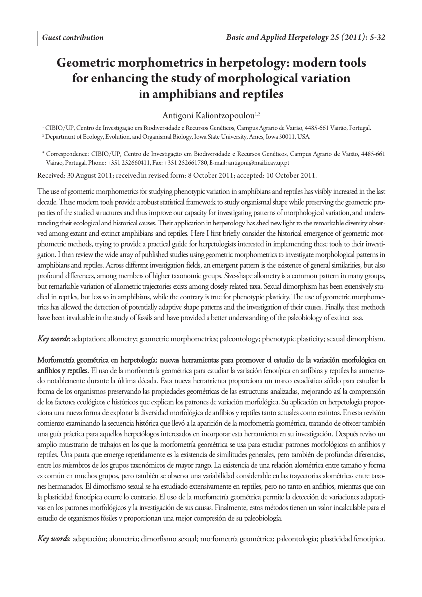 Geometric Morphometrics In Herpetology PDF Download Available