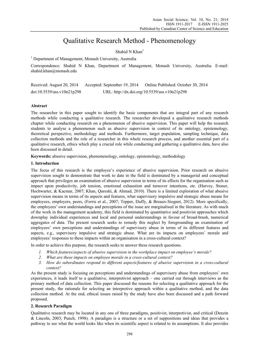 PDF Qualitative Research Method Phenomenology