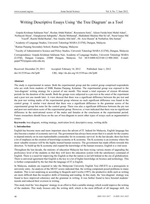 small resolution of  pdf writing descriptive essays using the tree diagram as a tool