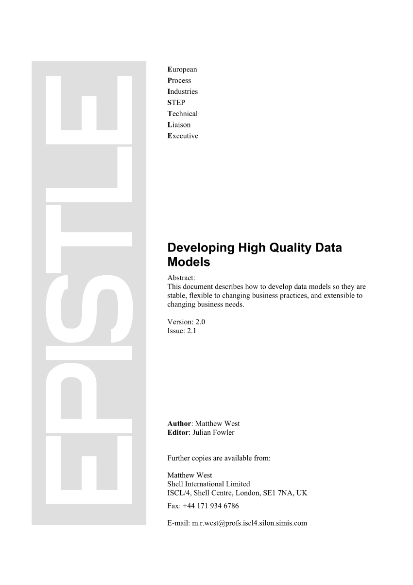 (PDF) Developing High Quality Data Models