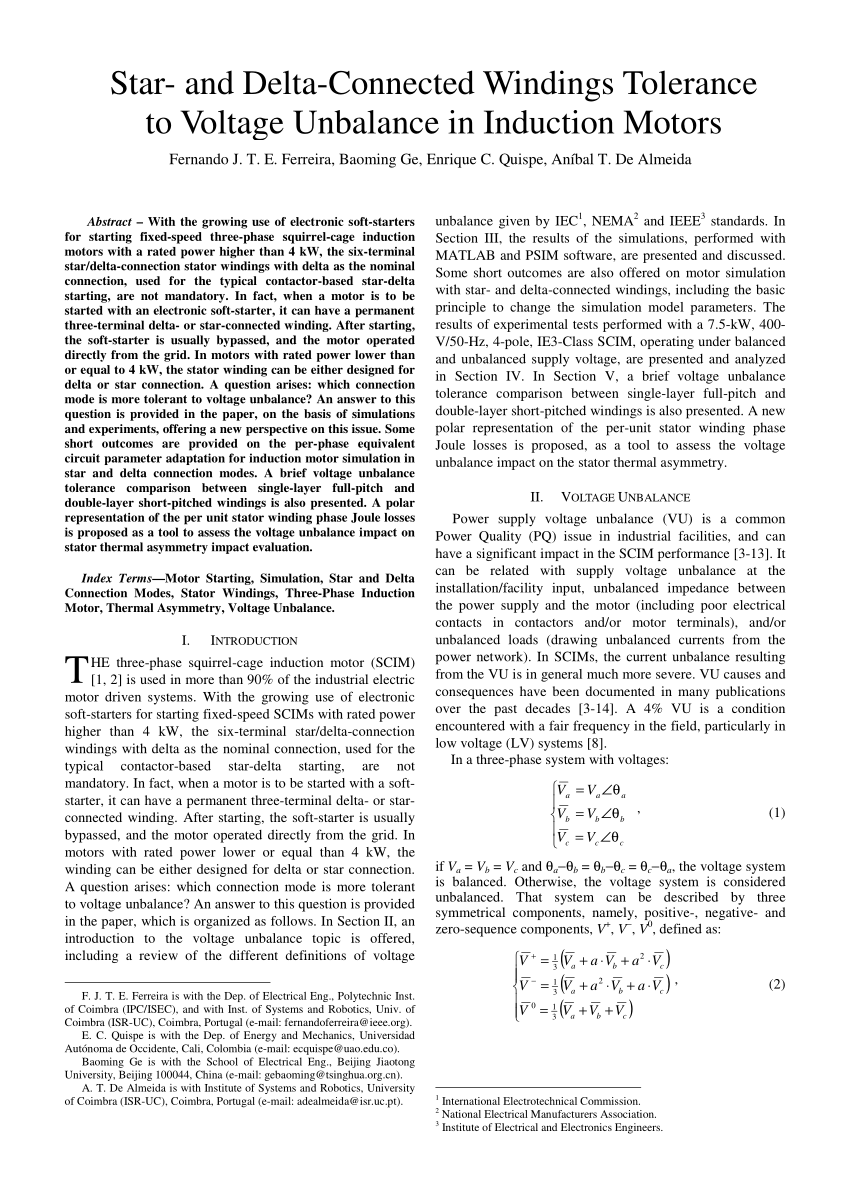 hight resolution of  pdf star and delta connected windings tolerance to voltage unbalance in induction motors