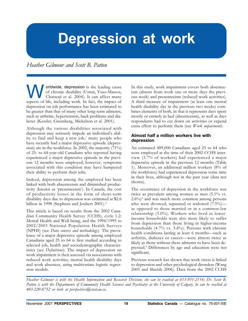 (PDF) Depression at work